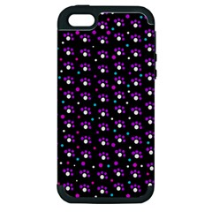 Purple Dots Pattern Apple Iphone 5 Hardshell Case (pc+silicone) by Valentinaart