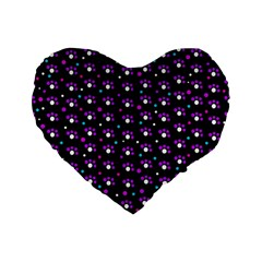 Purple Dots Pattern Standard 16  Premium Flano Heart Shape Cushions by Valentinaart