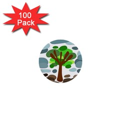 Tree 1  Mini Buttons (100 Pack)  by Valentinaart