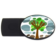 Tree Usb Flash Drive Oval (4 Gb)  by Valentinaart