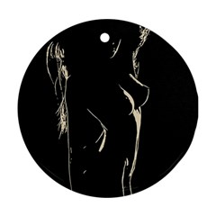 28 Sexy Conte Sketch Girl In Room Naked Boobs Nipples Shadows Ornament (round)  by PeterReiss