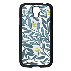 Blue Floral Design Samsung Galaxy S4 I9500/ I9505 Case (black) by Valentinaart