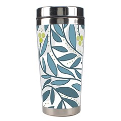 Blue Floral Design Stainless Steel Travel Tumblers by Valentinaart