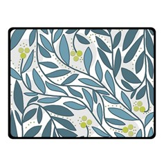 Blue Floral Design Double Sided Fleece Blanket (small)  by Valentinaart