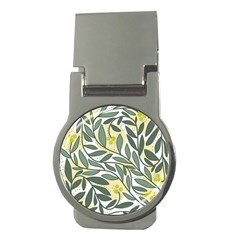 Green Floral Pattern Money Clips (round)  by Valentinaart