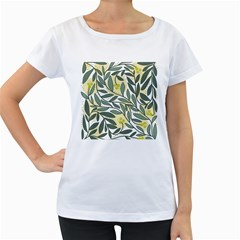 Green floral pattern Women s Loose-Fit T-Shirt (White) by Valentinaart