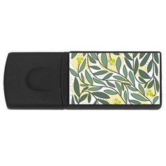 Green Floral Pattern Usb Flash Drive Rectangular (4 Gb)  by Valentinaart