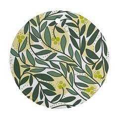 Green Floral Pattern Round Ornament (two Sides)  by Valentinaart