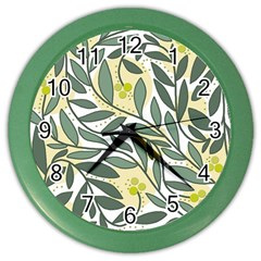 Green Floral Pattern Color Wall Clocks by Valentinaart