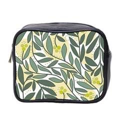 Green Floral Pattern Mini Toiletries Bag 2 Side by Valentinaart