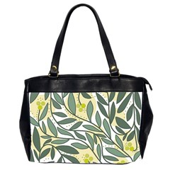 Green Floral Pattern Office Handbags (2 Sides)  by Valentinaart