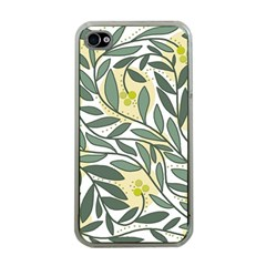 Green Floral Pattern Apple Iphone 4 Case (clear) by Valentinaart