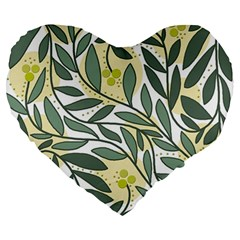 Green Floral Pattern Large 19  Premium Heart Shape Cushions by Valentinaart