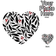 Red, Black And White Elegant Pattern Playing Cards 54 (heart)  by Valentinaart