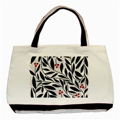 Red, Black And White Elegant Pattern Basic Tote Bag (two Sides) by Valentinaart