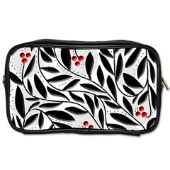 Red, Black And White Elegant Pattern Toiletries Bags by Valentinaart