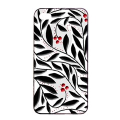 Red, Black And White Elegant Pattern Apple Iphone 4/4s Seamless Case (black) by Valentinaart