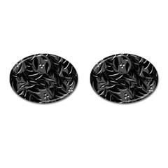 Black Floral Design Cufflinks (oval) by Valentinaart