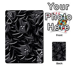 Black Floral Design Playing Cards 54 Designs  by Valentinaart