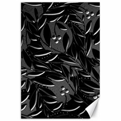 Black Floral Design Canvas 20  X 30   by Valentinaart