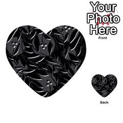 Black Floral Design Multi Purpose Cards (heart)  by Valentinaart