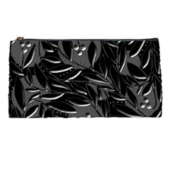 Black Floral Design Pencil Cases by Valentinaart