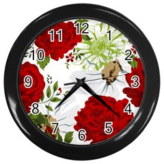 Red Roses Wall Clocks (black) by fleurs