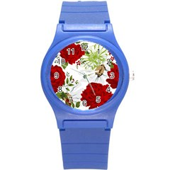 Red Roses Round Plastic Sport Watch (s) by fleurs