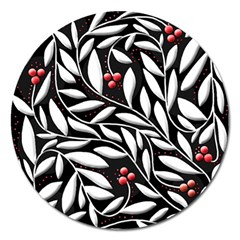 Black, Red, And White Floral Pattern Magnet 5  (round) by Valentinaart