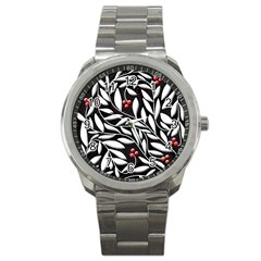 Black, Red, And White Floral Pattern Sport Metal Watch by Valentinaart