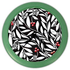 Black, Red, And White Floral Pattern Color Wall Clocks by Valentinaart