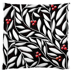 Black, Red, And White Floral Pattern Large Cushion Case (two Sides) by Valentinaart