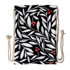Black, Red, And White Floral Pattern Drawstring Bag (large) by Valentinaart