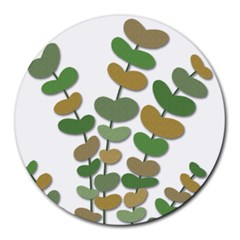 Green Decorative Plant Round Mousepads by Valentinaart