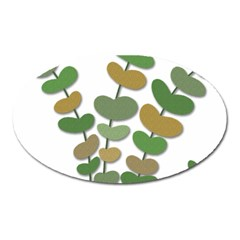Green Decorative Plant Oval Magnet by Valentinaart