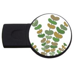 Green decorative plant USB Flash Drive Round (2 GB)  by Valentinaart