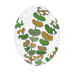 Green Decorative Plant Oval Filigree Ornament (2 Side)  by Valentinaart