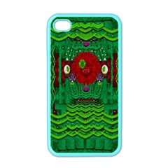 Flower Girl With Sunrose In Her Hair And Panda Bears Apple Iphone 4 Case (color) by pepitasart