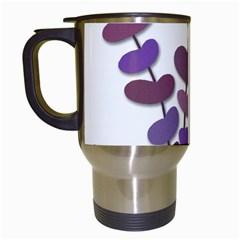 Purple Decorative Plant Travel Mugs (white) by Valentinaart