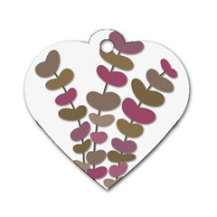 Magenta Decorative Plant Dog Tag Heart (two Sides) by Valentinaart