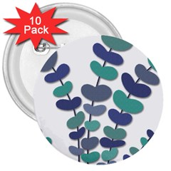 Blue decorative plant 3  Buttons (10 pack)  by Valentinaart