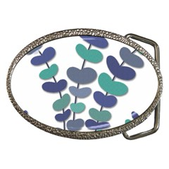 Blue Decorative Plant Belt Buckles by Valentinaart