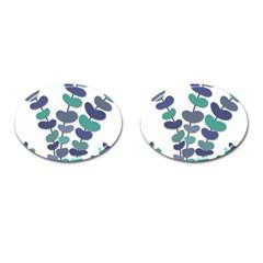 Blue Decorative Plant Cufflinks (oval) by Valentinaart