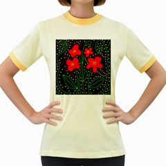 Red flowers Women s Fitted Ringer T-Shirts by Valentinaart