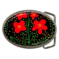 Red Flowers Belt Buckles by Valentinaart