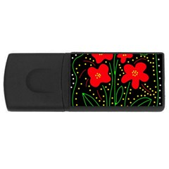Red flowers USB Flash Drive Rectangular (4 GB)  by Valentinaart