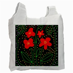Red Flowers Recycle Bag (two Side)  by Valentinaart