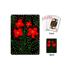 Red Flowers Playing Cards (mini)  by Valentinaart