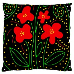 Red Flowers Large Cushion Case (two Sides) by Valentinaart