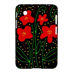 Red Flowers Samsung Galaxy Tab 2 (7 ) P3100 Hardshell Case  by Valentinaart